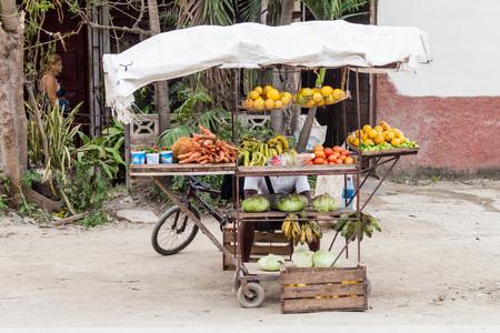 holguin: HOLGUIN, CUBA - JAN 28, 2016: Fruits and vegetables stall in Holguin