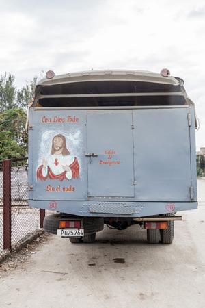 holguin: HOLGUIN, CUBA - JAN 28, 2016: Passenger truck in Holguin