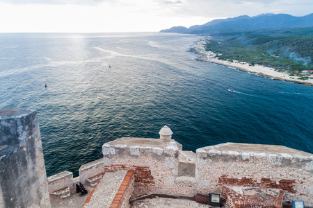 View from the Castle San Pedro de la Roca del Morro, Santiago de Cuba, Cuba Editorial