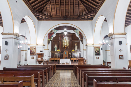 HOLGUIN,  CUBA - JAN 28, 2016: Interior of Cathedral San Isidoro in Holguin. Editorial