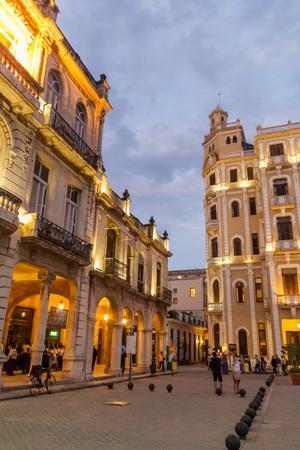HAVANA, CUBA - FEB 22, 2016: Old colonial buildings on Plaza Vieja square in Havana Vieja