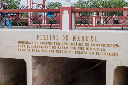 holguin: HOLGUIN,  CUBA - JAN 28, 2016: Entrance to a subway under the road in Holguin.