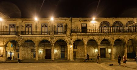 HAVANA, CUBA - FEB 20, 2016: Casa de Lombillo building on Plaza de la Catedral square in Habana Vieja.