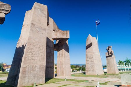 GUANTANAMO, CUBA - FEB 3, 2016: Military monument on the Plaza de la Revolucion (Revolution Sqaure) in Guantanamo, Cuba