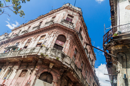 Dilipitated buildings in Old Havana, Cuba Stock Photo