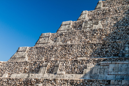 yucatan: Detail of the steps of the pyramid Kukulkan in the Mayan archeological site Chichen Itza, Mexico
