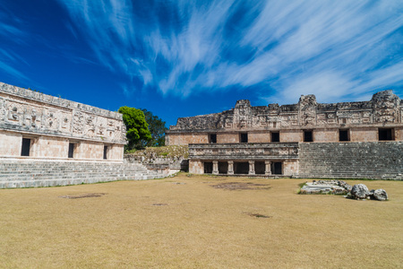 Nuns Quadrangle (Cuadrangulo de las Monjas) building complex at the ruins of the ancient Mayan city Uxmal, Mexico Stock Photo