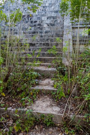 Steps to the ruins of Casa de la Vieja building in the ancient Mayan city Uxmal, Mexico Stock Photo