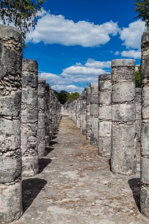 Temple of the thousand columns at the archeological site Chichen Itza, Mexico
