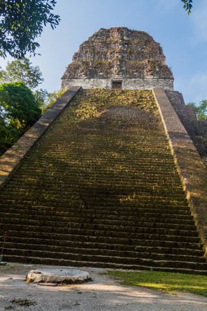 Temple V at the archaeological site Tikal, Guatemala Stock Photo - 79545356