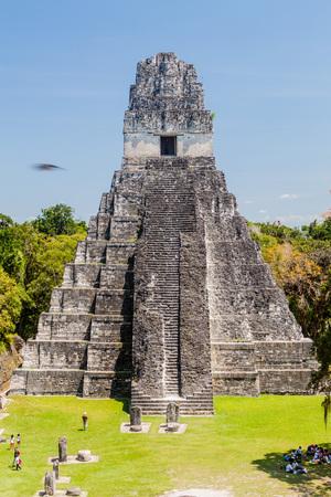 TIKAL, GUATEMALA - MARCH 14, 2016: Temple I at the archaeological site Tikal, Guatemala