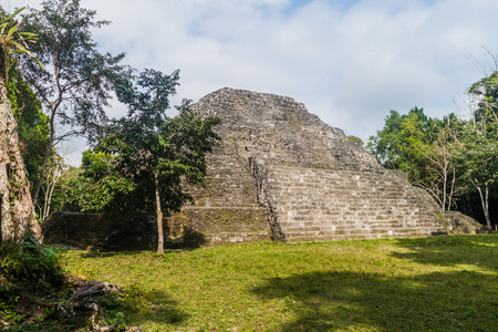 Ruin of a pyramid in an archaeological site Yaxha, Guatemala