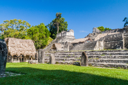 Ruins at Gran Plaza at the archaeological site Tikal, Guatemala