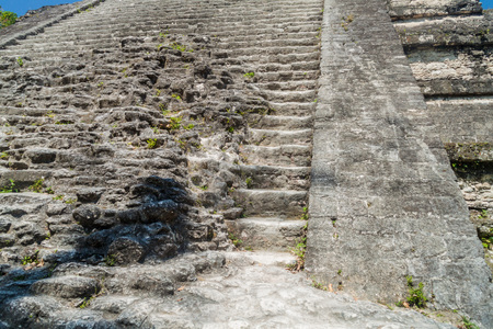 Stairway of Talud-Tablero temple at the archaeological site Tikal, Guatemala