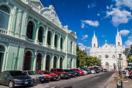 SANTA ANA, EL SALVADOR - APRIL 4, 2016: View of a cathedral in Santa Ana city.