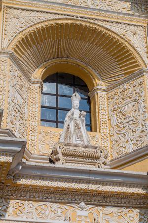 Statue at the facad of La Merced Church in Antigua, Guatemala Stock Photo
