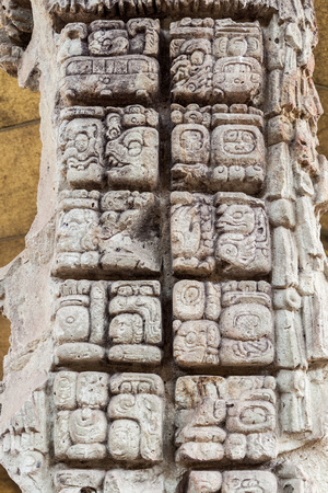 Detail of mayan hieroglyphs at the archaeological site Copan, Honduras Banco de Imagens