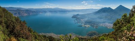Atitlan lake in Guatemala, picture taken from San Pedro volcano. Volcanoes Cerro de Oro, Toliman, Atitlan at the right side.