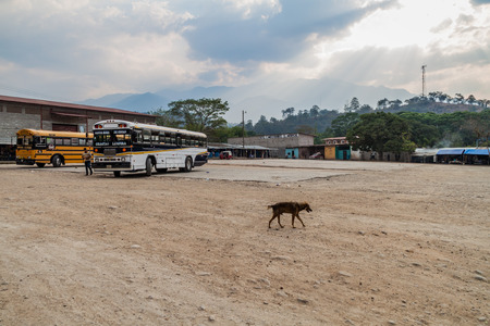 GRACIAS, HONDURAS - APRIL 13, 2016: Buses at the bus terminal in Gracias town.