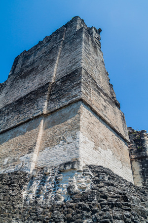 Top of Temple II at the archaeological site Tikal, Guatemala Stock Photo