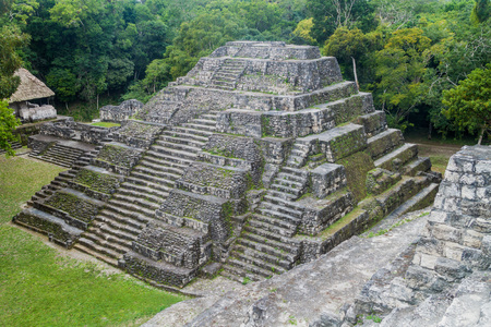 Pyramid at the North Acropolis at the archaeological site Yaxha, Guatemala Stock Photo