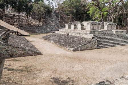 Ball Court at the archaeological site Copan, Honduras Stock Photo