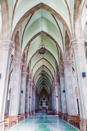 SANTA ANA, EL SALVADOR - APRIL 4, 2016: Interior of a cathedral in Santa Ana city.
