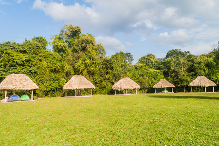 Huts in the camping place near Tikal ruins, Guatemala
