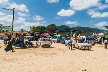 RAXRUHA, GUATEMALA - MARCH 16, 2016: View of a transport terminal in Raxruha town.