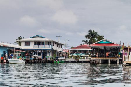 BOCAS DEL TORO, PANAMA - MAY 21, 2016: View of seaside buildings in Bocas del Toro town. Editorial