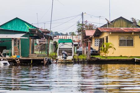 Seaside houses in Almirante village, Panama Stock Photo
