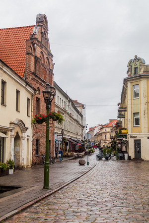 KAUNAS, LITHUANIA - AUGUST 16, 2016: View of Vilniaus gatve street in Kaunas, Lithuania.