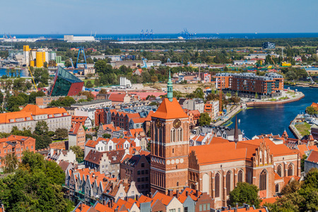 rood: Aerial view of Gdansk, Poland. Taken from the tower of St. Marys Church. Stock Photo