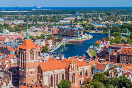 Aerial view of Gdansk, Poland. Taken from the tower of St. Marys Church. Stock Photo