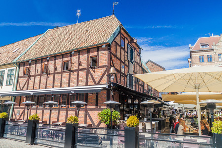 half timbered house: MALMO, SWEDEN - AUGUST 27, 2016: Medieval house at Lilla Torg square in Malmo, Sweden. Editorial