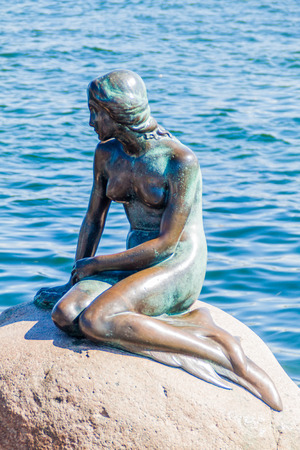 COPENHAGEN, DENMARK - AUGUST 26, 2016: Little Mermaid statue in Copenhagen, Denmark
