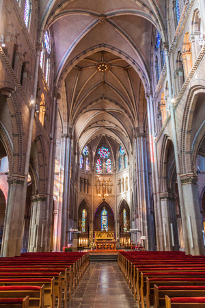 gothic revival: EINDHOVEN, NETHERLANDS - AUGUST 30, 2016: Interior of Saint Catherina Church in Eindhoven, Netherlands.