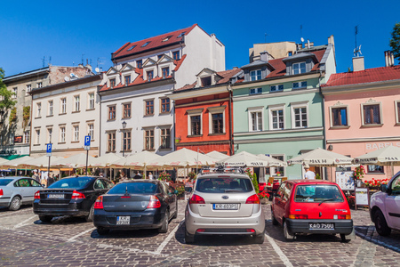 KRAKOW, POLAND - SEPTEMBER 4, 2016: Houses of Jewish Quarter (Kazimierz) of Krakow, Poland