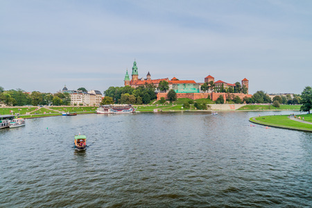 Vistula river, in front of Wawel castle in Krakow, Poland Editorial