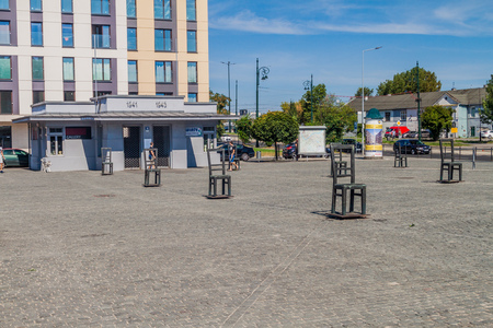 jewish: KRAKOW, POLAND - SEPTEMBER 4, 2016: Krakow Ghetto Memorial at Plac Bohaterow Getta (Ghetto Heroes Square) in Krakow, Poland.