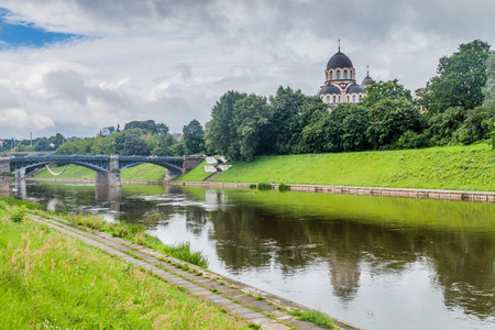 River Neris and Church of the Saint Virgins Apparition in Vilnius, Lithuania.