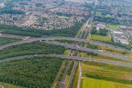 Aerial view of a multilane highway near Eindhoven, Netherlands Stock Photo