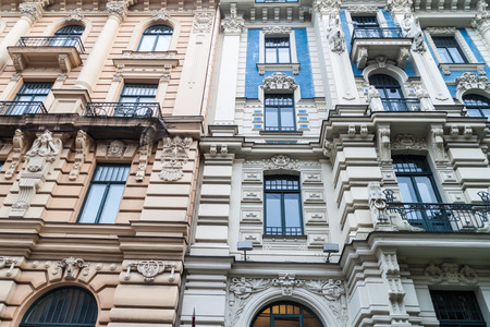 jugendstil art nouveau building in riga latvia stock photo