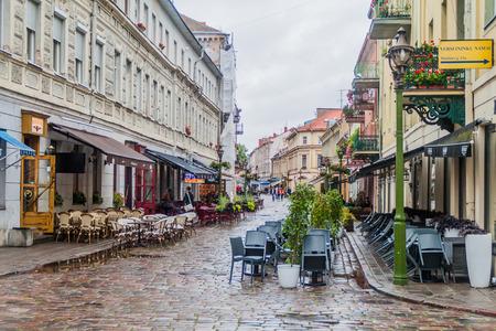 KAUNAS, LITHUANIA - AUGUST 16, 2016: Open air cafes at Vilniaus gatve street in Kaunas, Lithuania. Editorial