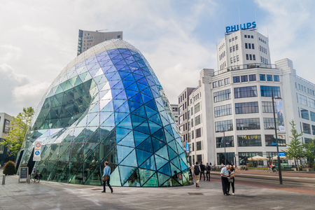 EINDHOVEN, NETHERLANDS - AUGUST 29, 2016: Modern architecture and Philips building in Eindhoven.