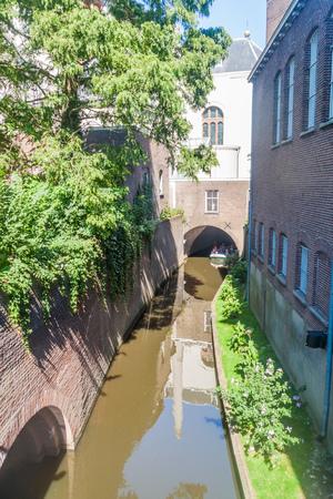 DEN BOSCH, NETHERLANDS - AUGUST 30, 2016:  Tourist boat on a canal in Den Bosch, Netherlands