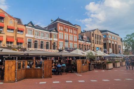 EINDHOVEN, NETHERLANDS - AUGUST 29, 2016: Open air restaurants in the center of Eindhoven, Netherlands.