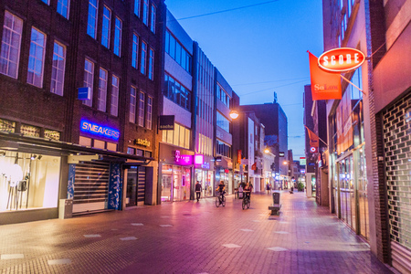 walking zone: EINDHOVEN, NETHERLANDS - AUGUST 29, 2016: Pedestrian street in the center of Eindhoven, Netherlands.
