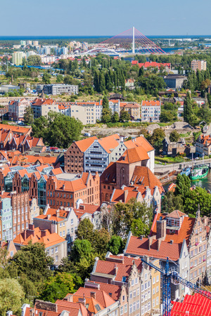 Aerial view of Gdansk, Poland. Taken from the tower of St. Marys Church. Editorial