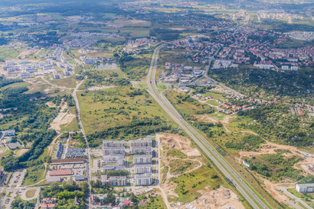 suburbs: Aerial view of Gdansk suburbs with Armii Krajowej road, Poland Stock Photo